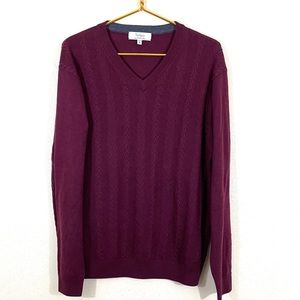 Turnbury V Neck Cable Knit Sweater Red/Maroon Med
